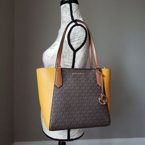 NWT Michael Kors SM Kimberly Tote Brown marigold Boutique